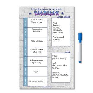 Exemple idée menu de la semaine magnétique effaçable personnalisé avec liste de course et notes