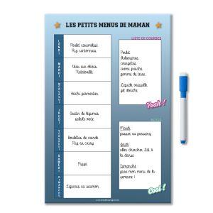 Exemple idées menus de la semaine magnétique effaçable personnalisé avec liste de course et notes