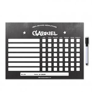 Tableau de comportement modifiable et effaçable noir étoile avec prénom tag feutre aimanté