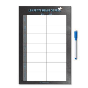 Planning magnétique menu de la semaine midi et soir effaçable et personnalisé avec un feutre aimanté
