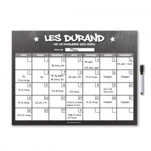 exemple planning organisateur mensuel magnétique effaçable et personnalisable avec feutre aimanté gris ardoise