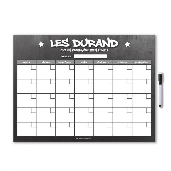 planning organisateur mensuel magnétique effaçable et personnalisable avec feutre aimanté gris ardoise