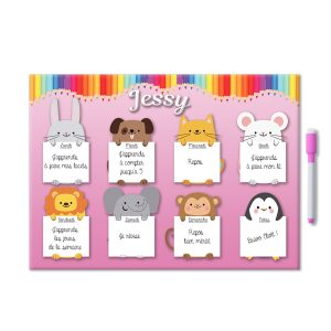 semainier magnétique personnalisé rose pour enfant avec prénom et feutre aimanté
