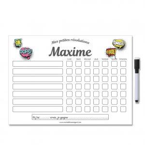 Tableau de motivation modifiable et effaçable avec prénom et stylo aimanté
