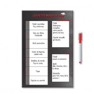 Exemple idées Planning organisateur personnalisé des menus de la semaine avec notes et liste de courses et feutre aimanté