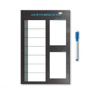 Planning organisateur personnalisé des menus de la semaine avec notes et liste de courses et feutre aimanté