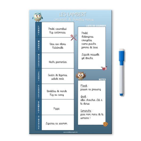 Planning magnétique et effaçable des repas de la semaine avec liste de courses et notes chouette bleu