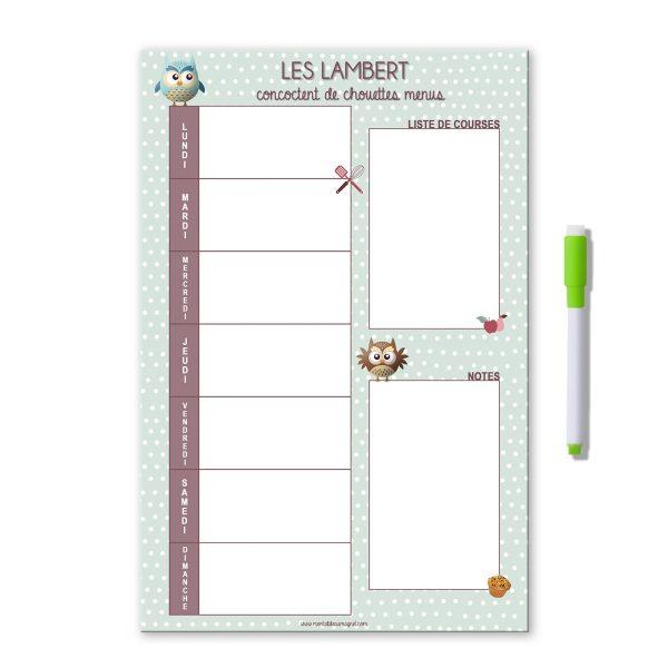 Planning magnétique et effaçable des menus de la semaine vert à pois avec des chouettes et nom de famille. Avec liste de courses et notes