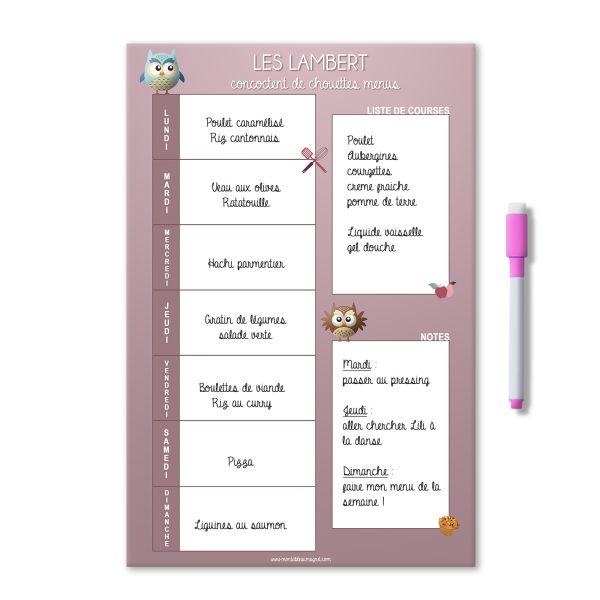 Planning magnétique et effaçable des menus de la semaine rose avec des chouettes et nom de famille. Avec liste de courses et notes