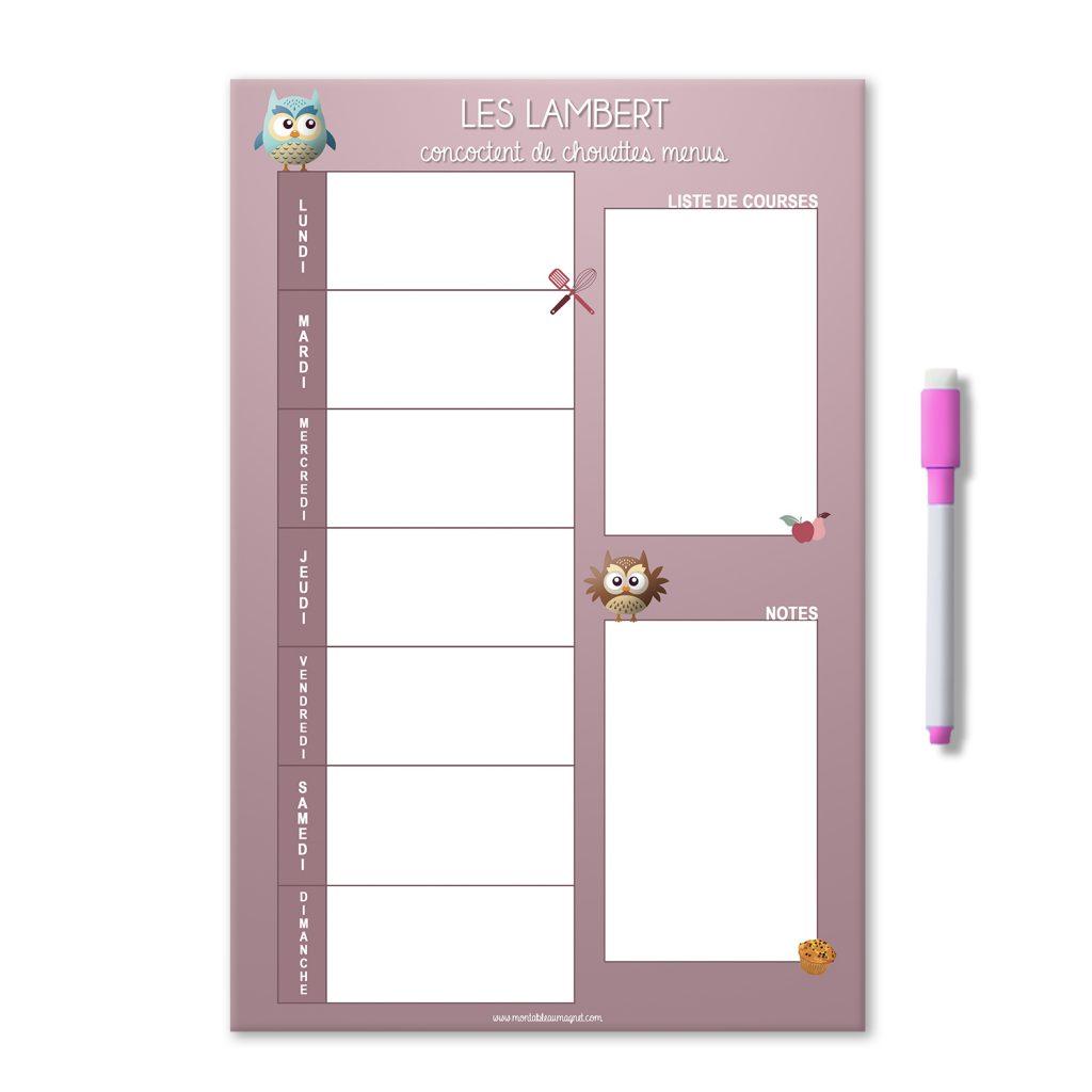 Planning magnétique effaçable des menus de la semaine rose avec des chouettes et nom de famille. Avec liste de courses et notes