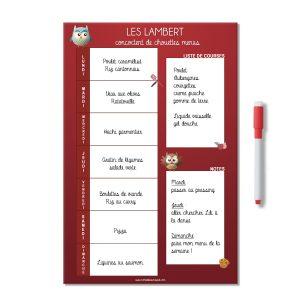 Planning magnétique et effaçable des menus de la semaine rouge avec des chouettes et nom de famille. Avec liste de courses et notes