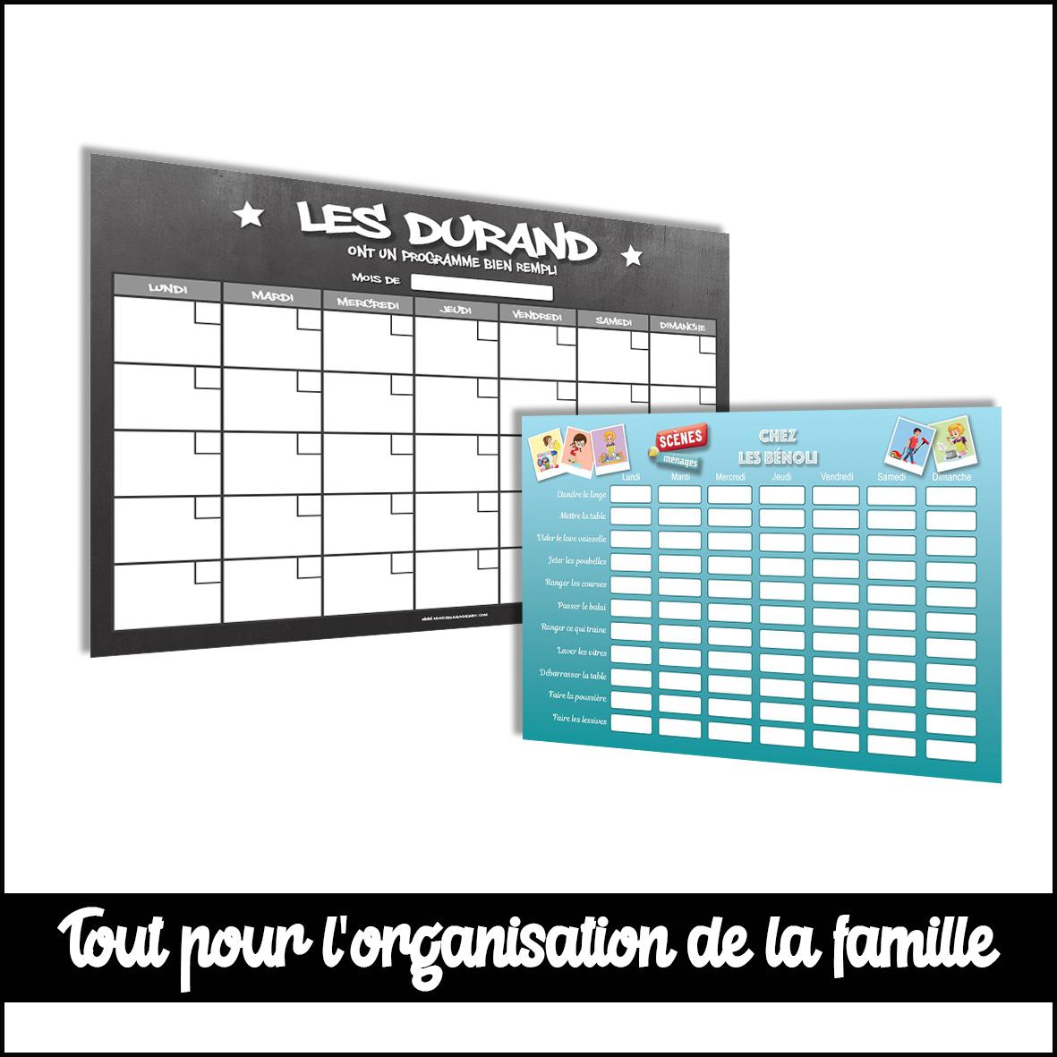 organisateur mensuel planning des menus de la semaine et répartition des taches personnalisé