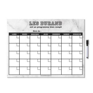 Planificateur mensuel effaçable pour frigo personnalisé avec stylo aimanté effet marbre