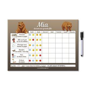 Tableau magnétique de propreté ours personnalisé avec gommettes et feutre aimanté