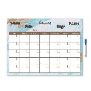 Planning organiser mensuel personnalisé et effaçable avec feutre aimanté arc en ciel