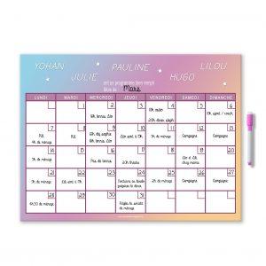 Planning organiser mensuel personnalisé et effaçable avec feutre aimanté couleur pastelle