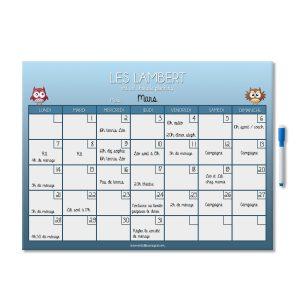tableau planning mensuel magnétique effaçable et personnalisé chouette bleu avec feutre aimanté