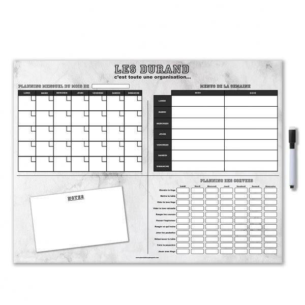 planning organisateur mensuel magnétique effaçable et personnalisé avec feutre aimanté