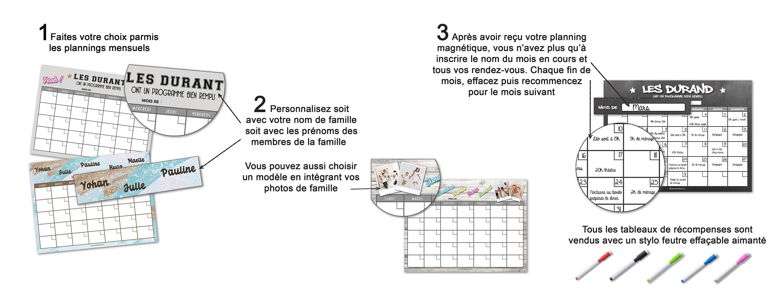 comment ca marche un planning magnétique mensuel personnalisé