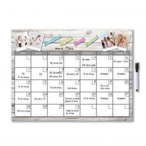 Planning organisateur effaçable mensuel magnétique pour frigo personnalisé avec photo et prénom avec feutre aimanté