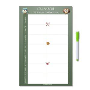 Planning magnétique personnalisé organisation des menus de la semaine chouette kaki