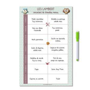 Planning magnétique personnalisé organisation des menus de la semaine chouette pois