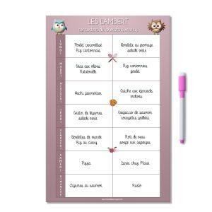 Planning magnétique personnalisé organisation des menus de la semaine chouette rose