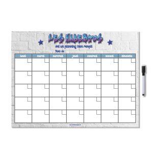 Planning organisateur effaçable mensuel magnétique pour frigo personnalisé avec nom de famille avec feutre aimanté