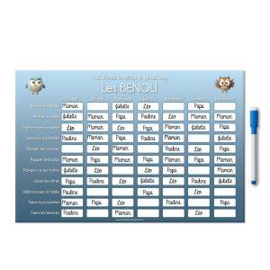 planning magnétique personnalisé de la répartition des corvées ménagères chouette bleu avec feutre aimanté