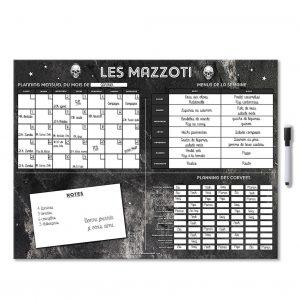 Combiné organiser personnalisé avec planning mensuel menu de la semaine et réparation des taches et tête de mort