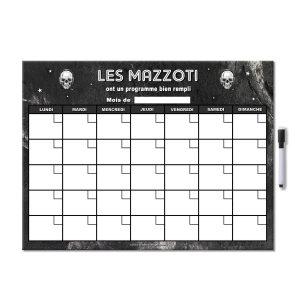 Planning organisateur mensuel magnétique rock tête de mort